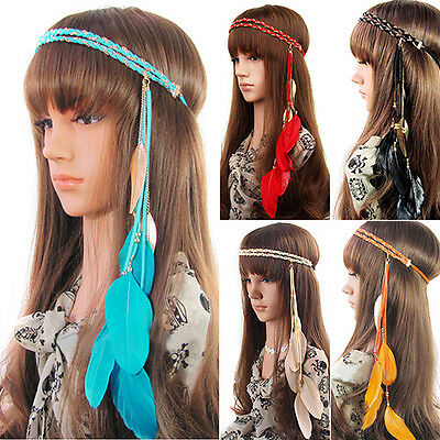 WOMENS NEWEST 2 LAYERS BRAIDED HAIRBAND COLORFUL FEATHER LEAF PENDANT HEAD BAND