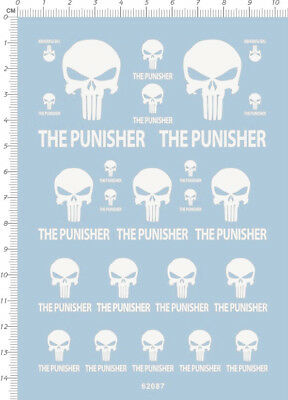 decals the punisher for different scales white 00485
