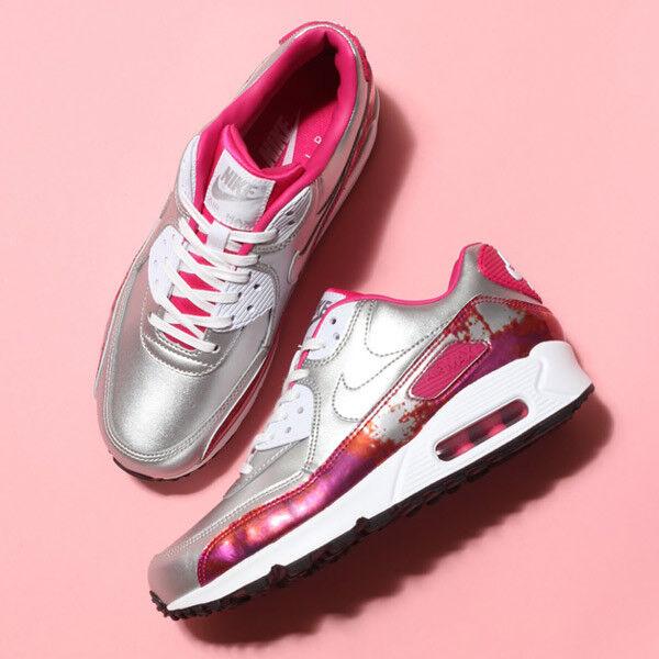 Nike Air Max 90 PRM PRM PRM QS shoes size 6.5 744596-001 Metallic Silver White-Pink Pow 47edc4