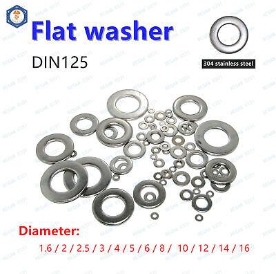 Flat Washers Stainless Steel M2 M2.5 M3 M4 M5 M6 M8 M10 Hardware Gasket Assortment Set 400Pcs