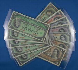 1954-Canadian-Bills-1-2-5-10-20-50-100-Plus-5-1967-Bills