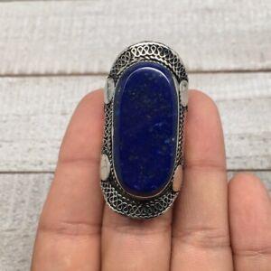 Antique-Afghan-Turkmen-Ring-Tribal-Boho-Oval-Lapis-Kuchi-Ring-Statement-TR56