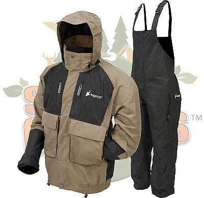 Frogg Toggs Stone/Black Firebelly Jacket & Black Toadskin Bibs Rain Suit 2XL