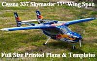 Cessna 337 Skymaster 77 Giant Scale Rc Airplane Printed Plans & Templates