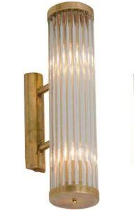 Antique-Old-Vintage-Art-Deco-Brass-amp-Glass-Rod-Ship-Light-Wall-Sconces-Lamp