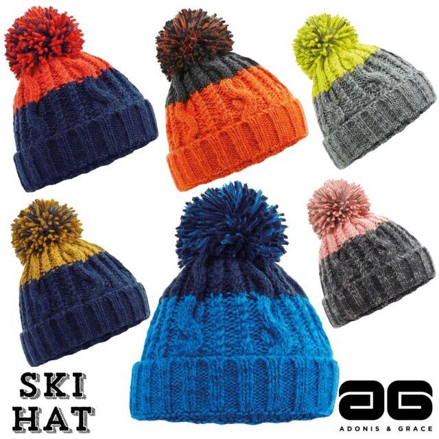 MENS//LADIES NEW HEAVY KNIT BEANIE HAT//SKI HAT//SKATEBOARD HAT WITH BOBBLE