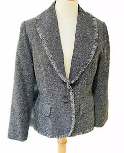 TABLE-EIGHT-Womens-Jacket-Grey-Fringed-Size-12-Made-in-Australia