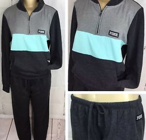 03f4caf28e528 Details about Victoria's Secret PINK Set Outfit Perfect Quarter Zip &  Classic Pant Black M NWT