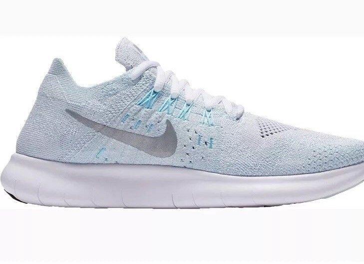 NIB Nike Free Rn Flyknit 2017 Sneaker Wht Aqua bluee 880844-012 Women's Sz 6-9.5