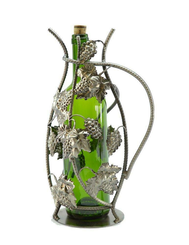 (D) Wine Bottle Holder, Pitcher with Grapes, Bar Counter Decoration