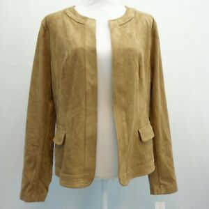 Charter-Club-Womens-Top-Faux-Suede-Open-Front-Jacket-Burnt-Russet-Tan-L-119
