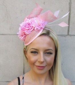 5afb1cb9823 Baby Light Pink Sinamay Rose Flower Feather Hat Fascinator Races ...