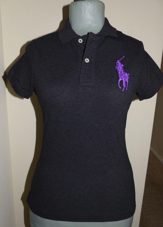 POLO RALPH LAUREN Ladies Skinny Polo  Stiefel schwarz w  Large lila Pony  Sz LG NWT