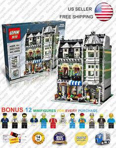 15008 Green Grocer 10185 Custom Modular Street Building Blocks 2462 Pcs