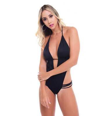 search for clearance new items unique style Bikini Bombshell - Solid Black Strappy Monokini Side Cut Out One Piece  Swimsuit   eBay
