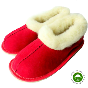 Women-039-s-Shoes-REAL-SHEEP-WOOL-Slippers-Handmade-Hard-Sole-Red