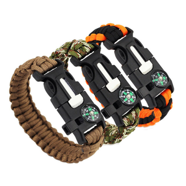 PARACORD SURVIVAL BRACELET, COMPASS, FLINT, FIRE STARTER, WHISTLE CAMPING GEAR