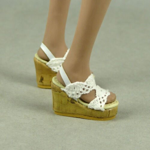 TBLeauge 1//6 Scale Phicen NT Female White Lace Strap Sling-Back Wedge Shoes