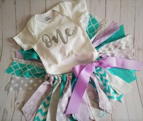 """/""""Wild One/"""" Purple Turquoise /& Gray /""""One/"""" First 1st Birthday Girl Outfit Tutu"""