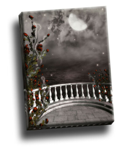 Beautiful Gothic Balcony /& Rose Bush Giclee Canvas Picture Art Decoration