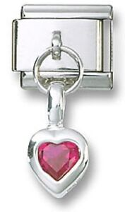 Italian-Charm-Red-CZ-Sterling-Silver-Dangle-Heart-July-9-mm-Stainless-Steel-Link
