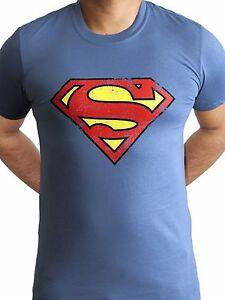 Superman Logo Distressed Classic Dc Comics Justice League Pale Blue