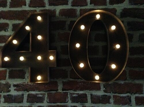 LED CARNIVAL 40  BIRTHDAY ANNIVERSARY CELEBRATION NUMBERS  METAL LARGE 33 CM.