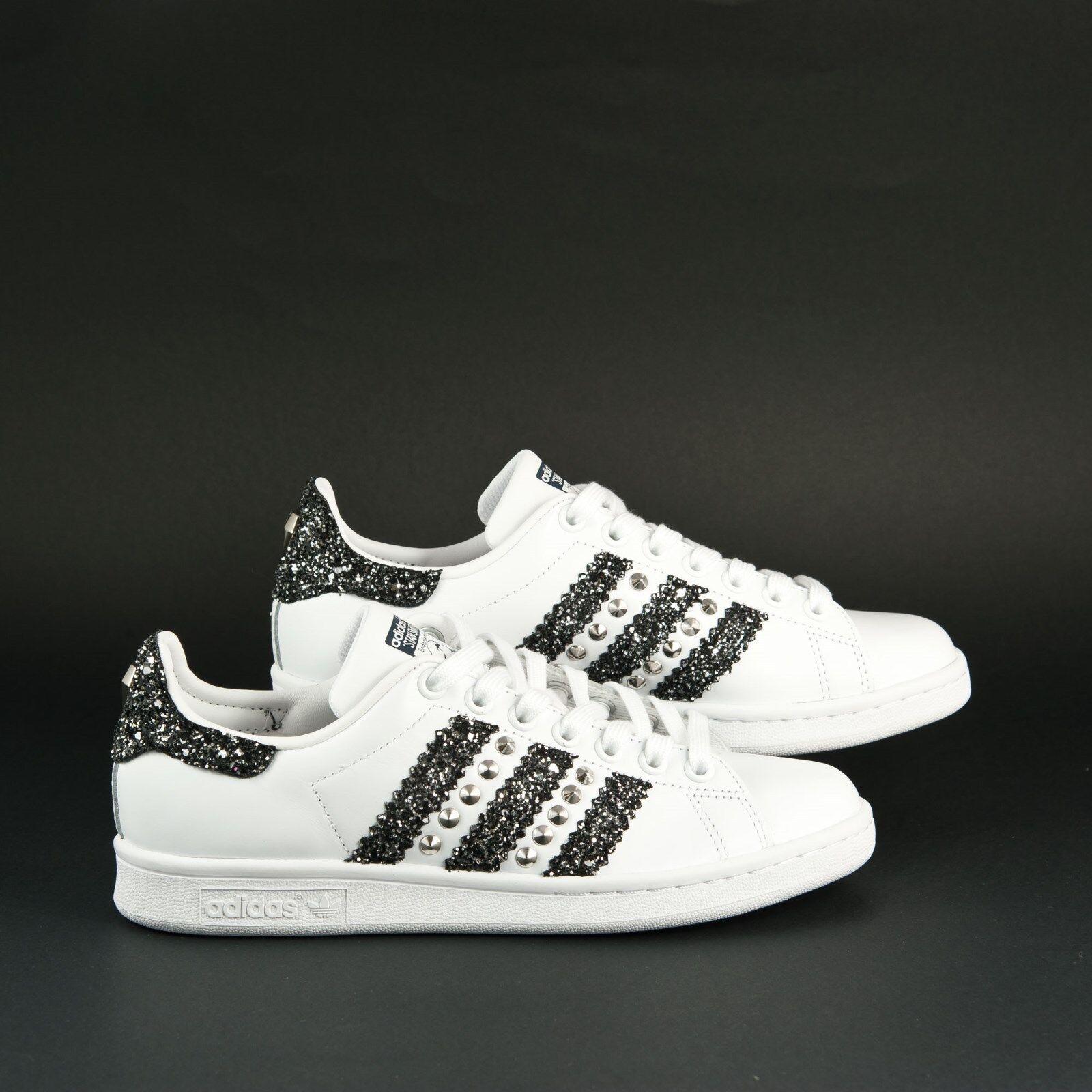 Zapatos casuales salvajes scarpe adidas stan smith con glitter grigio antracite e borchie argento