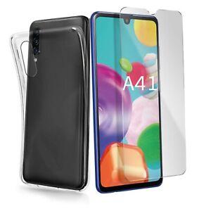 Coque pour Samsung Galaxy A41 Transparente + Verre Trempé écran Protecteur