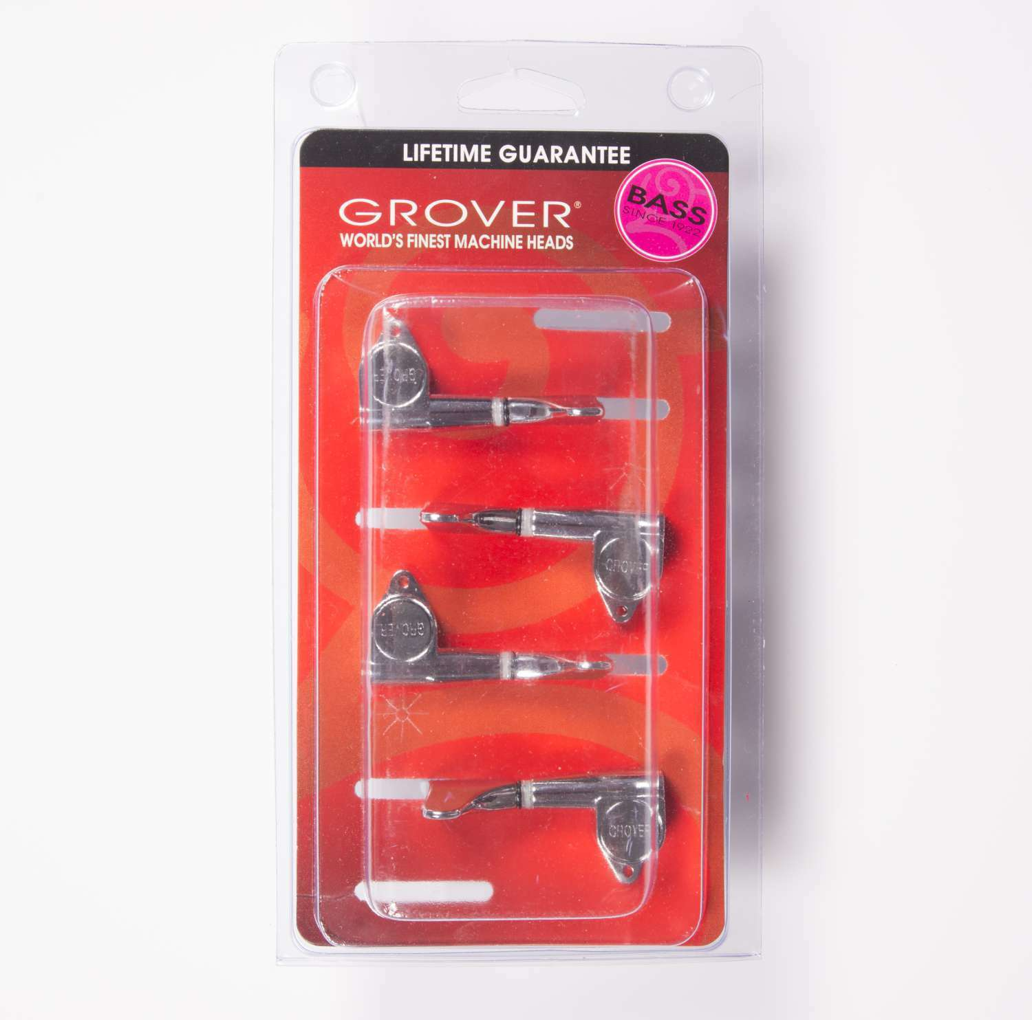 Grover 144CL4 Mini Bass Guitar Tuners, Lefty Treble side 4 Inline set, Chrome