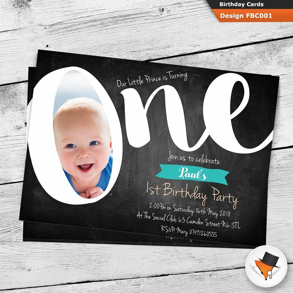 1st Party First Birthday Invitations Invites Personalised Girl Boy Photo Fb29c6