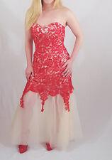 Red Lace Pink Organza Prom Wedding Dress Zipper Closure