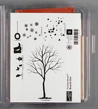 Stampin Up BRANCH OUT Unmounted Rubber Stamp Set - Tree Tire Swing Snow Two Step