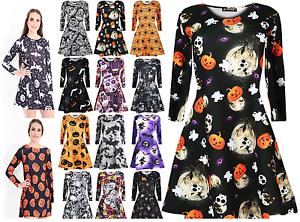 New Ladies Womens Halloween Skull Fancy Costume Long Sleeve Ladies Scary Flared