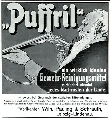 Rifle Cleaning Agent Puffril 1908 Ad German Advertising Hunter Pauling Schrauth Merchandise & Memorabilia Advertising-print