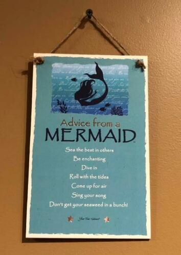 """Advice from a Mermaid Inspirational 5.5/""""x8.5/"""" Hanging Wood Plaque Sign for Wall"""