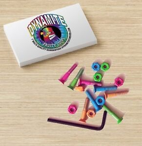 Dynamite-Forever-Bolts-1-034-Fruity-Loops-Tie-Dye-Skateboard-Hardware-New
