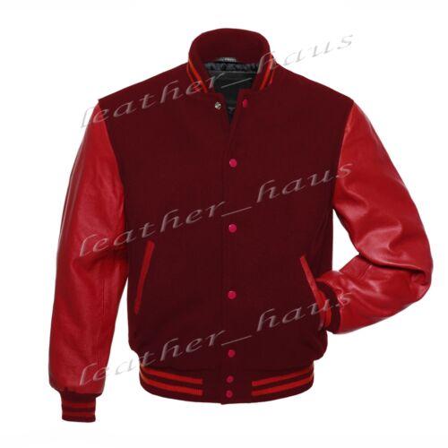 Superb Genuine Leather Sleeve Letterman College Varsity Wool Jackets #R/_SL-R/_STR