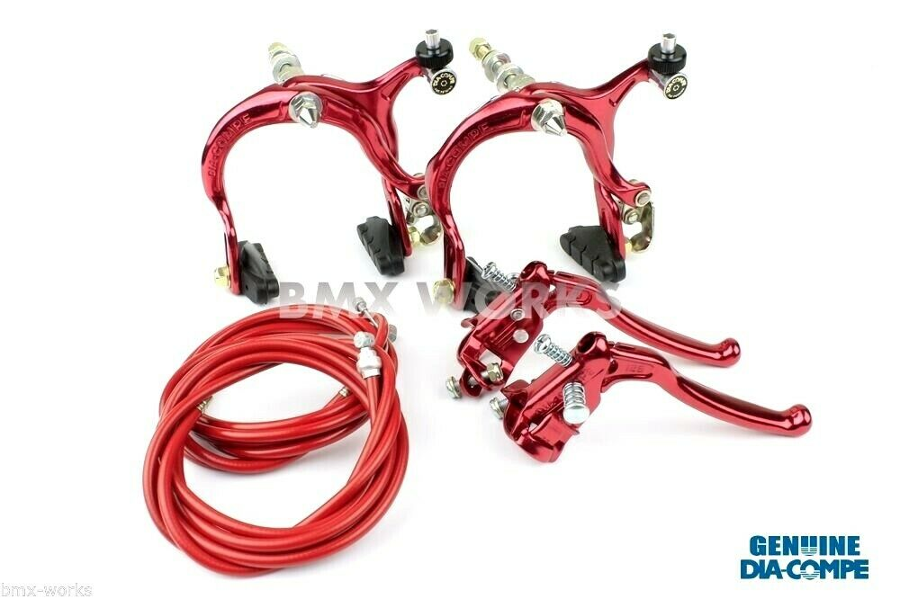 Dia-Compe MX883 - MX128 Red Brake  Set - Old Vintage School BMX Style Brakes  presenting all the latest high street fashion