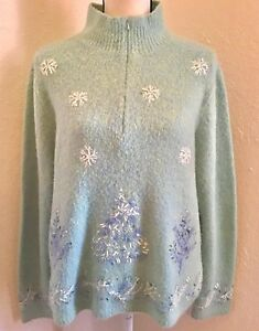 Ugly-Christmas-Sweater-Jumper-Talbots-Size-L-Blue-Green-Beads-Sequins-Trees