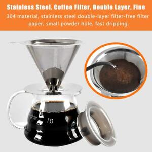 Coffee Dripper Foldable Filter Stainless Steel V60 Style Drip Cup Reusable