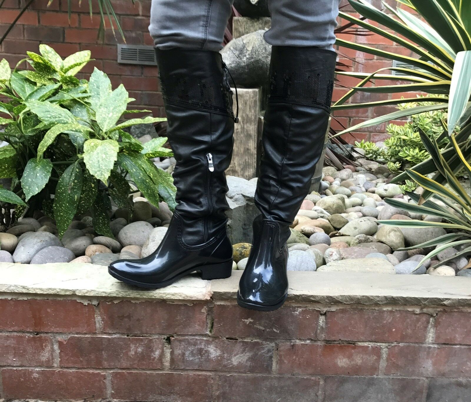 Womens Ladies Girls Boots Wellies Fashion A104 With Sequins All Sizes