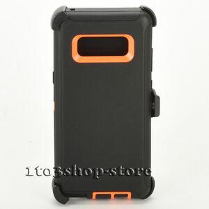 Samsung-Galaxy-Note-8-Defender-Shockproof-Case-w-Holster-Belt-Clip-Black-Orange