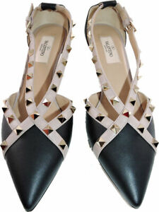 Valentino-Garavani-ROCKSTUD-CROSS-STRAP-LEATHER-D-039-ORSAY-PUMPS-Shoes-37-5