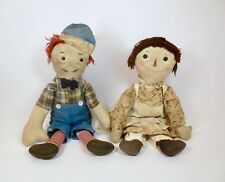 VERY RARE ANTIQUE TOY P.F. VOLLAND RAGGEDY ANN & ANDY DOLLS CIRCA EARLY 1920'S