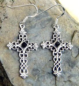 Schönheit beste Qualität hohe Qualitätsgarantie Details zu edle Ohrhänger Ohrringe Sterling Silber Onyx Kreuz Mittelalter  Kreuz Gothic