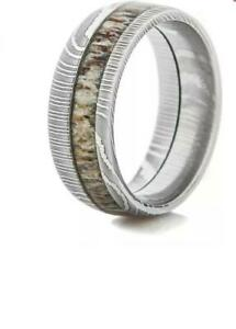 Hand-Made-Damascus-Steel-Stag-Horn-Inlay-Ring-With-Gift-Box