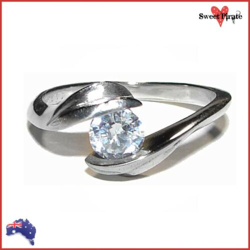 Ladies Stainless Steel Friendship Engagement Promise Ring with Cubic Zirconia