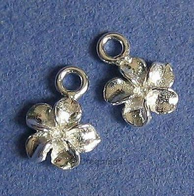 4x Sterling Silver Hawiiaan Plumaria Flower Daisy Charm Dangle Bead 6mm