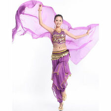 Belly Dance Chiffon Face Veil Dancing Head Scarf Shawl Headpiece Costumes Purple